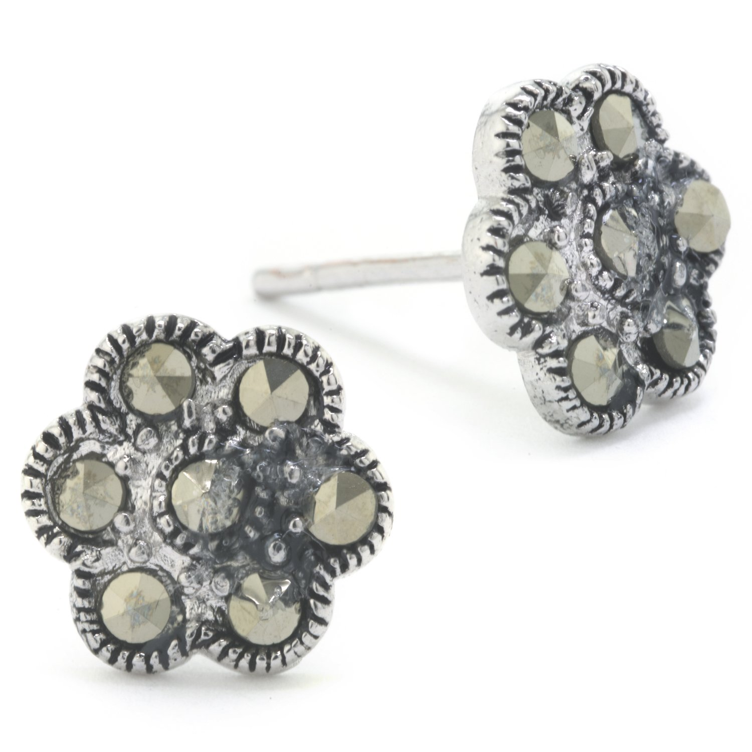 Silver on the Web Fine Silver Plated Marcasite Flower Stud Earrings