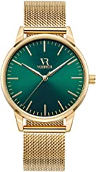 VODRICH Mens Iconic Green/Gold Watch - Luxury Designer Mens Gold Mesh Band Watch With
