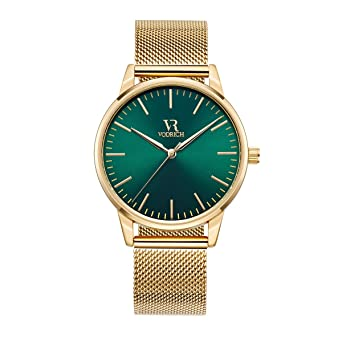 Green Face Watch >> Amazon Com Vodrich Men S Iconic Green Gold Watch Luxury Designer