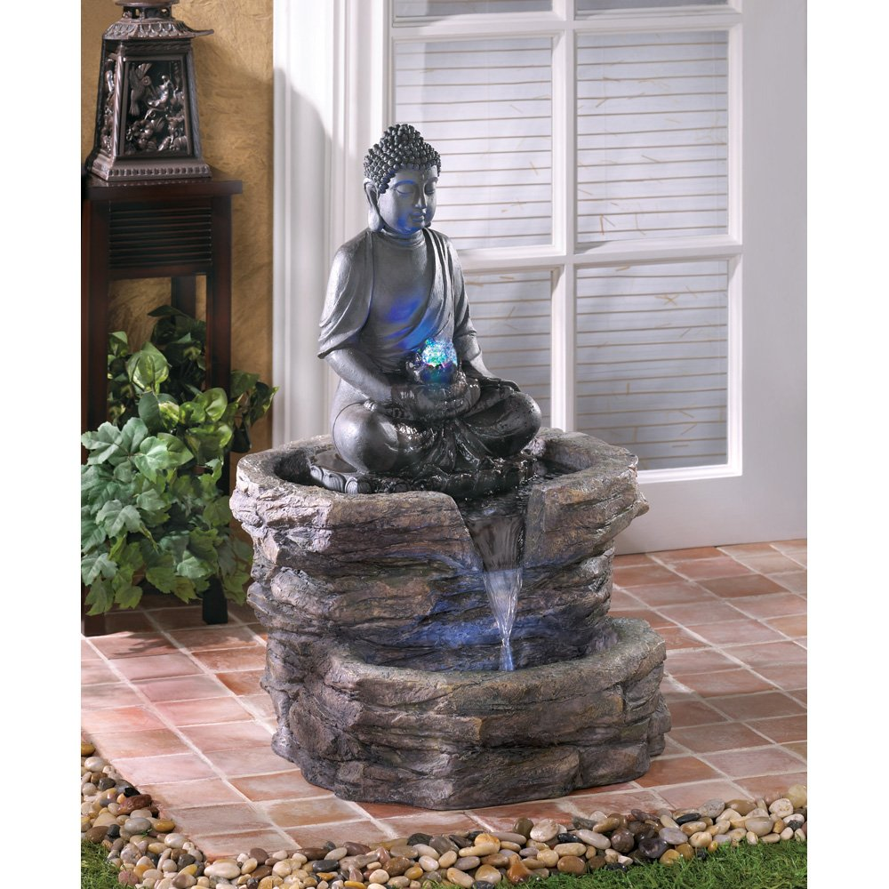 Amazon large color changing led light thai hindu buddha statue amazon large color changing led light thai hindu buddha statue outdoor fountain free standing garden fountains garden outdoor aloadofball Image collections