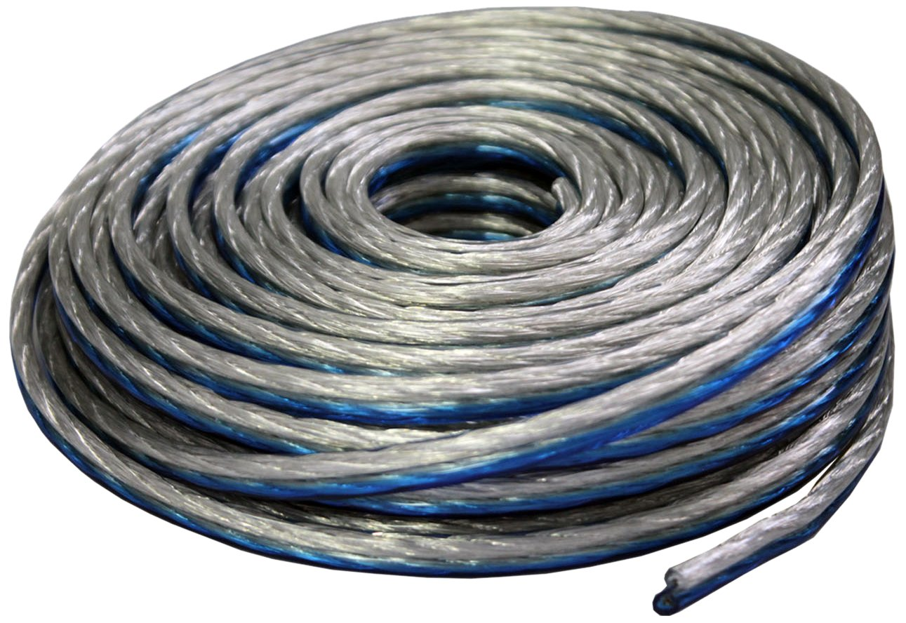 Absolute USA SWT12B50 Professional Premium Speaker Wire 12 Ga 50ft Clear - Blue/White