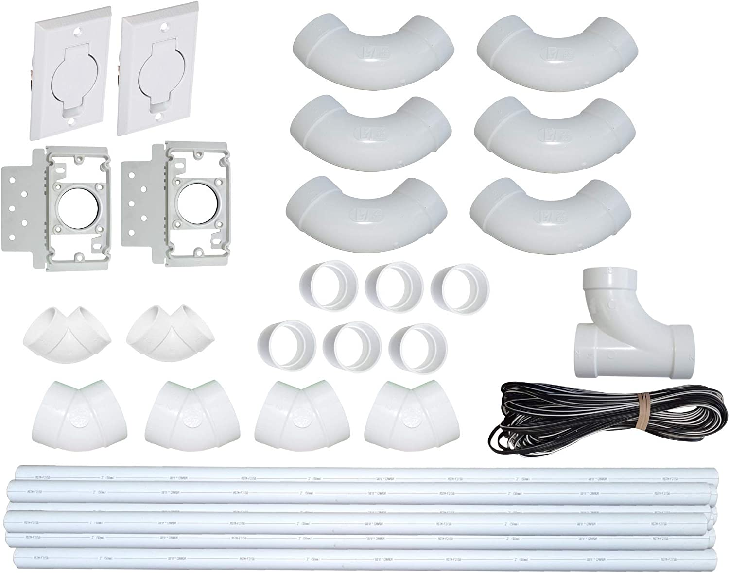 ZVac Central Vacuum Pipe & Inlet Installation Kit with 50 Feet of Pipes & Wires Pre-Packaged with Wall Plates, Elbows, Brackets, Couplers & Sweep Ts Compatible with Central Vacuum NuTone, Beam & More