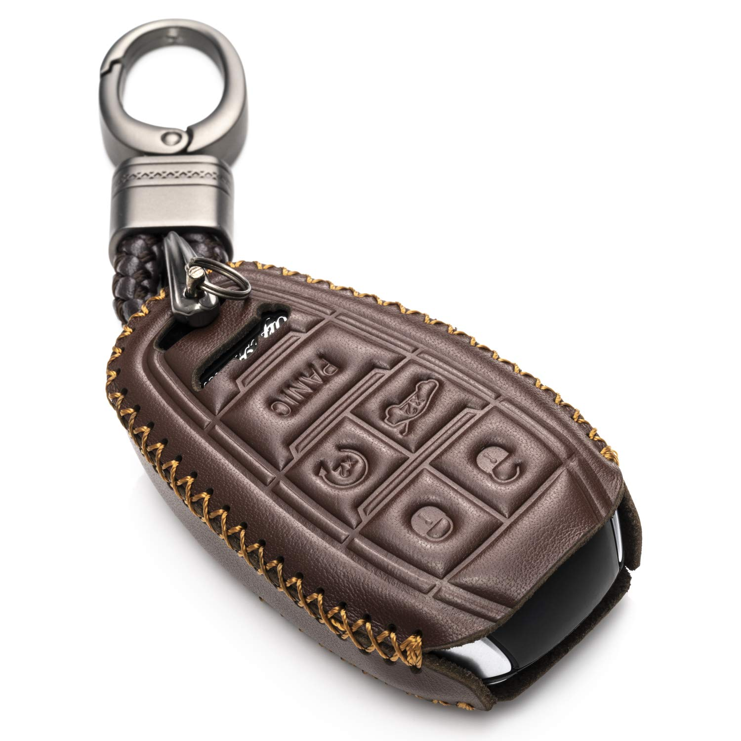 Vitodeco Genuine Leather Smart Key Fob Case Cover Protector with Leather Key Chain for 2017-2019 Alfa Romeo Giulia, Stelvio, 4C Spider (5-Button, Brown)