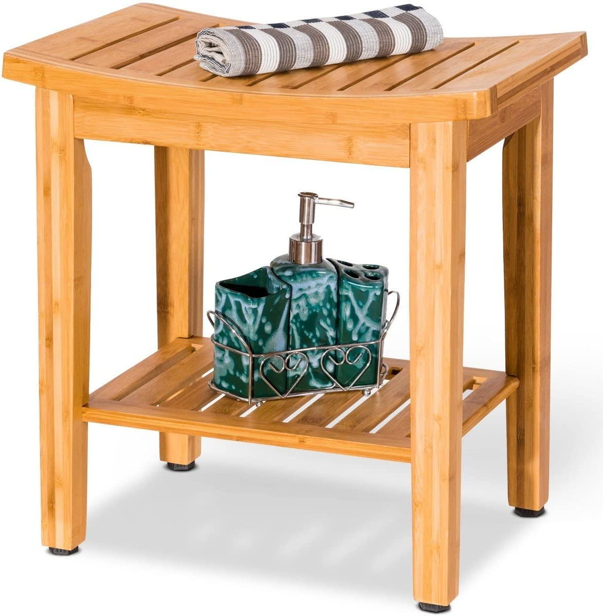 "18"" Bamboo Shower Seat Bench w/ Storage Shelf - By Choice Products 71cYR8D49LLSL1200_"
