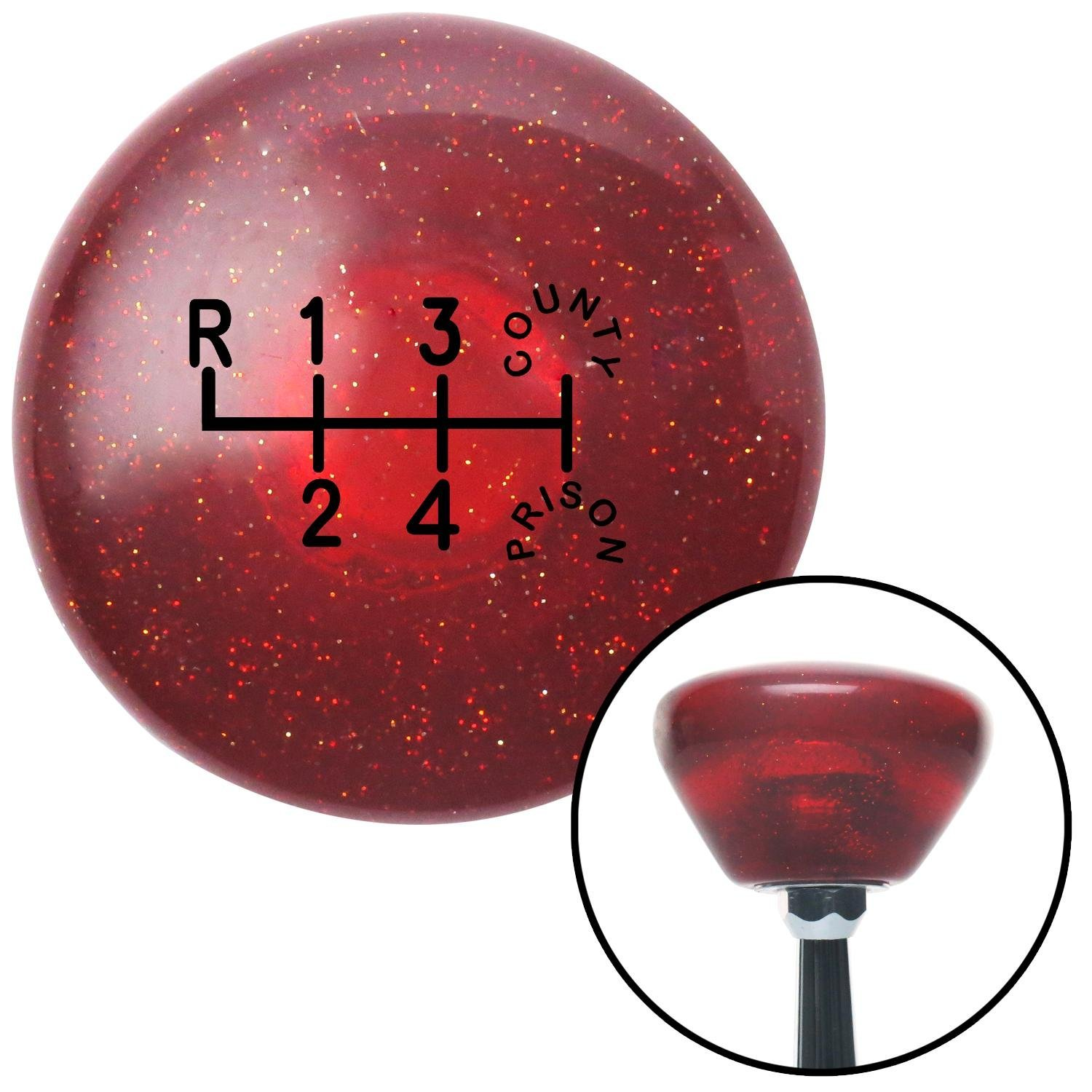 American Shifter 193115 Red Retro Metal Flake Shift Knob with M16 x 1.5 Insert Black County Prison