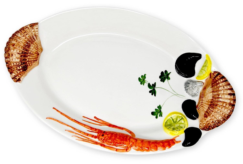BASSANO Meeresfrüchte Fischteller Servierplatte italienische Keramik 35x21