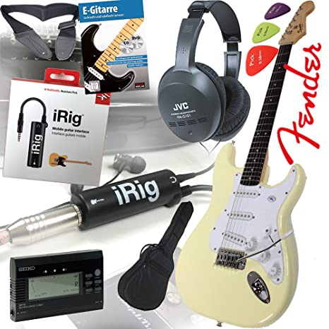 Fender Squier Bullet Strat guitarra eléctrica en Arctic White – Blanco + iRig Guitarra Interfaz para