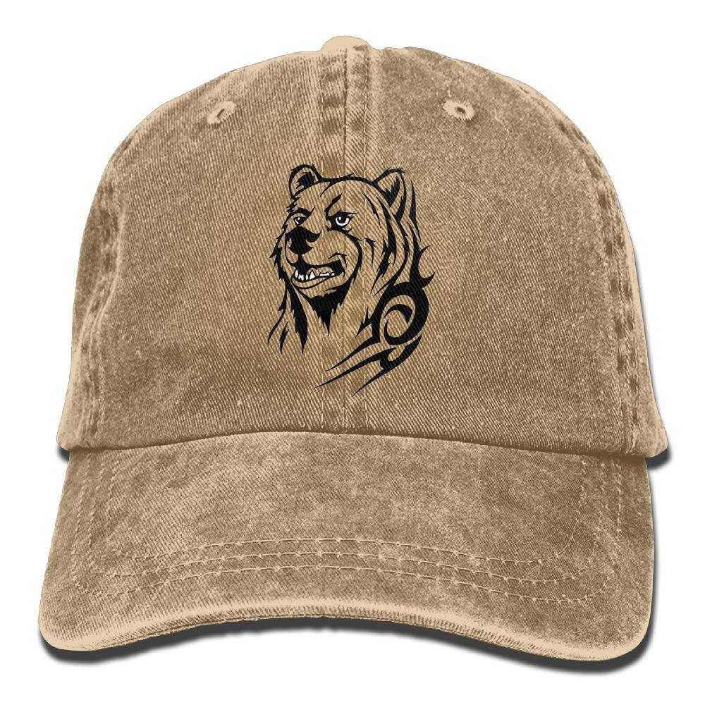896352b3b4b0a HAIRUIYD Grizzly Roaring Bears Baseball Cap Boys Girls Creative Snapback  Hip Hop Flat Hat Adjustable One Size at Amazon Men s Clothing store