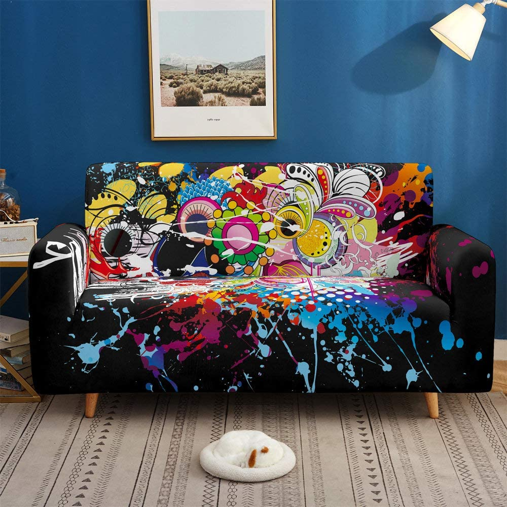 NISHIPANGZI Printed Sofa Cover Stretch,Painted Graffiti Pattern 3D Printed Polyester Spandex Stretch Couch Cover,Furniture Universal Sofa Cover for Armchair/Loveseat/Couch/Big Sofa,2,Seater 145,185Cm