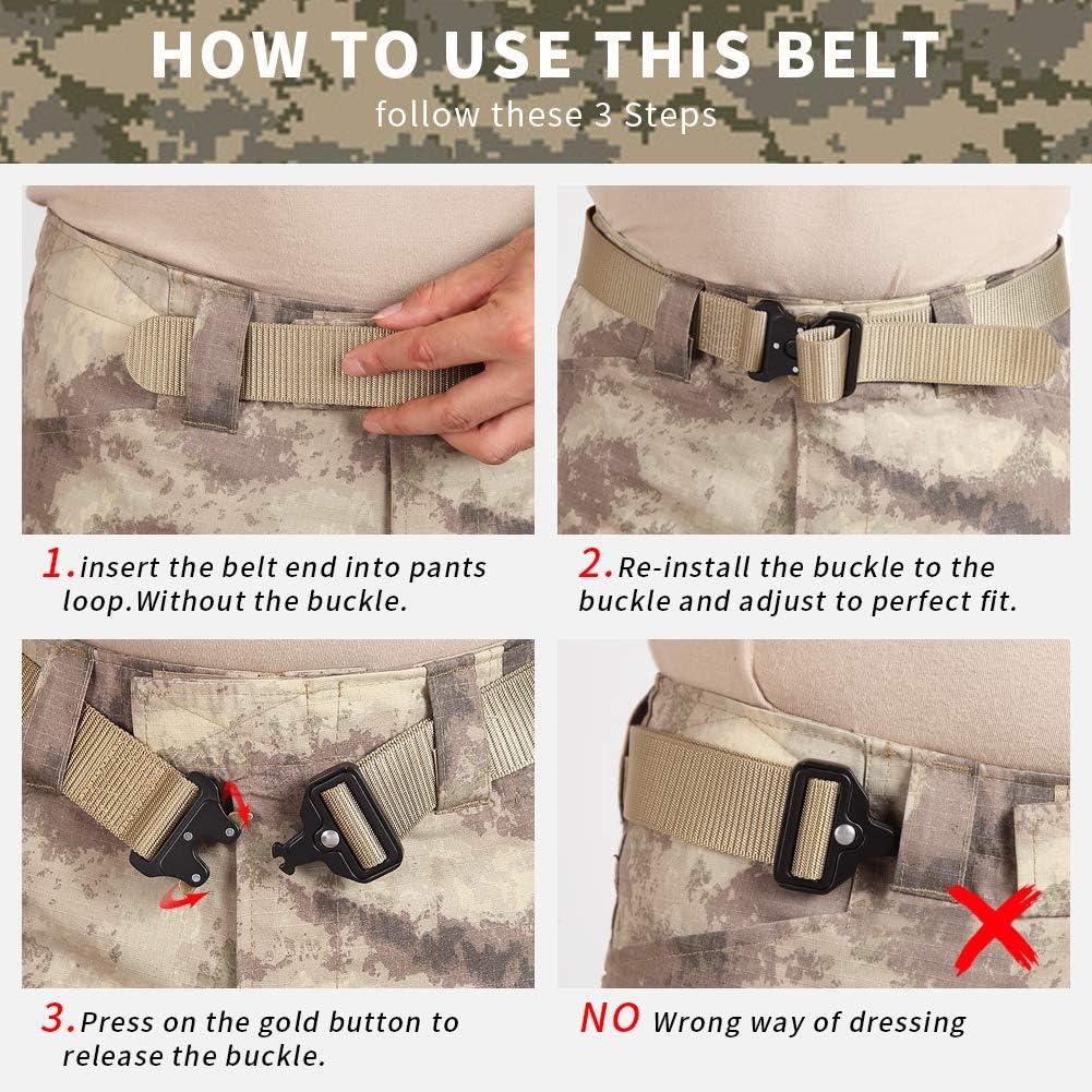 Quick Release Metal Buckle Military Style Adjustable Nylon-Web-Belt Mens Multifunction Tactical-Belt Heavy Duty Webbing Belt