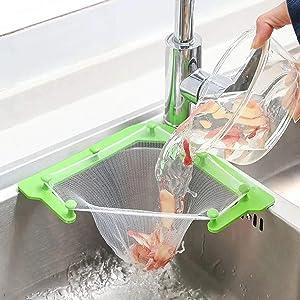 Triangle Tri-Holder Filter,Kitchen Sink Strainer Triangular Holder Basket Leftovers Filter Disposable Garbage Mesh Bags(1 Holder+100 Filter Bags)