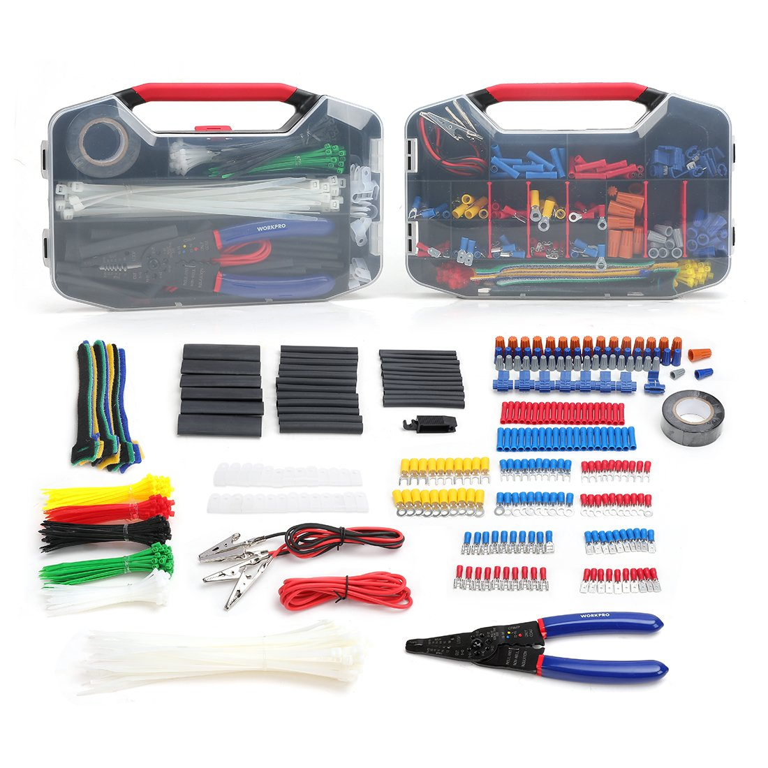 WORKPRO 582-piece Crimp Terminals Wire Connectors Heat Shrink Tube Electrical Repair Kit with Wire Cutter Stripper