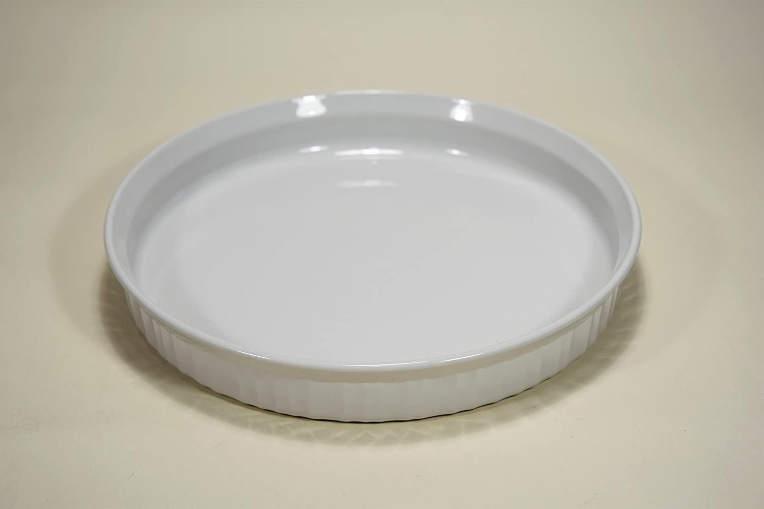 """Corning Ware French White Vintage 10 1/2"""" Quiche Baking PAN Dish Casserole Stamped F-3-B F3B 10 INCH Original Smooth Bottom PYROCERAM Glass (not Newer Stoneware Version) Made in USA"""