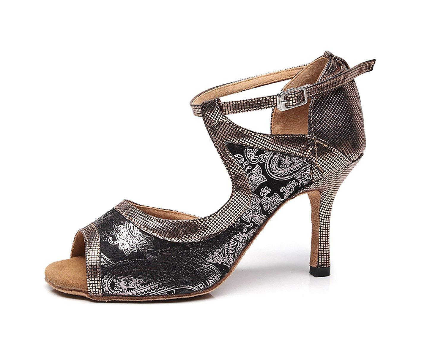 Yingsssq Lateinamerikanische Tanzschuhe für Damen Salsa Tango Chacha Samba Modern Jazz Schuhe Sandalen High Heels Braunabsatz7.5cm-UK4.5   EU36   Our37