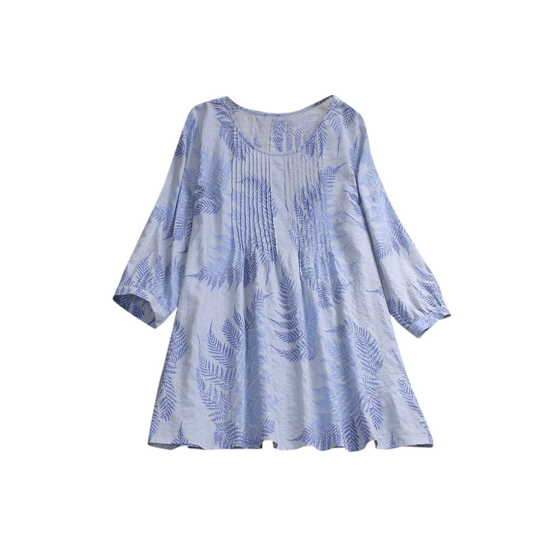 bluee 5XL Blouse Womens Casual Plus Size Loose Lace Blouse Linen Sleeve Print Button Tanic Shirt