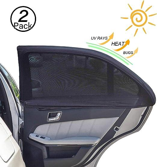 GIU.NE/® Parasoles de coche para ni/ños y beb/és Protecci/ón /óptima de los rayos UV 80 g//m/² 2 unidades 51 x 31 cm Negros con unicornio Accesorios oscurecedores para coche
