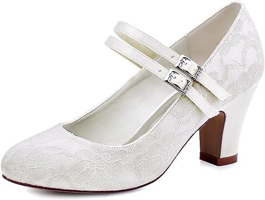 Scarpe Sposa Pizzo Bianche.Elegantpark Hc1701 Scarpe Da Sposa Con Tacco Pizzo Scarpe Fibbia