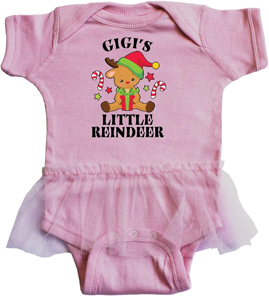 inktastic Christmas Gigis Little Reindeer with Candy Canes Infant Tutu Bodysuit
