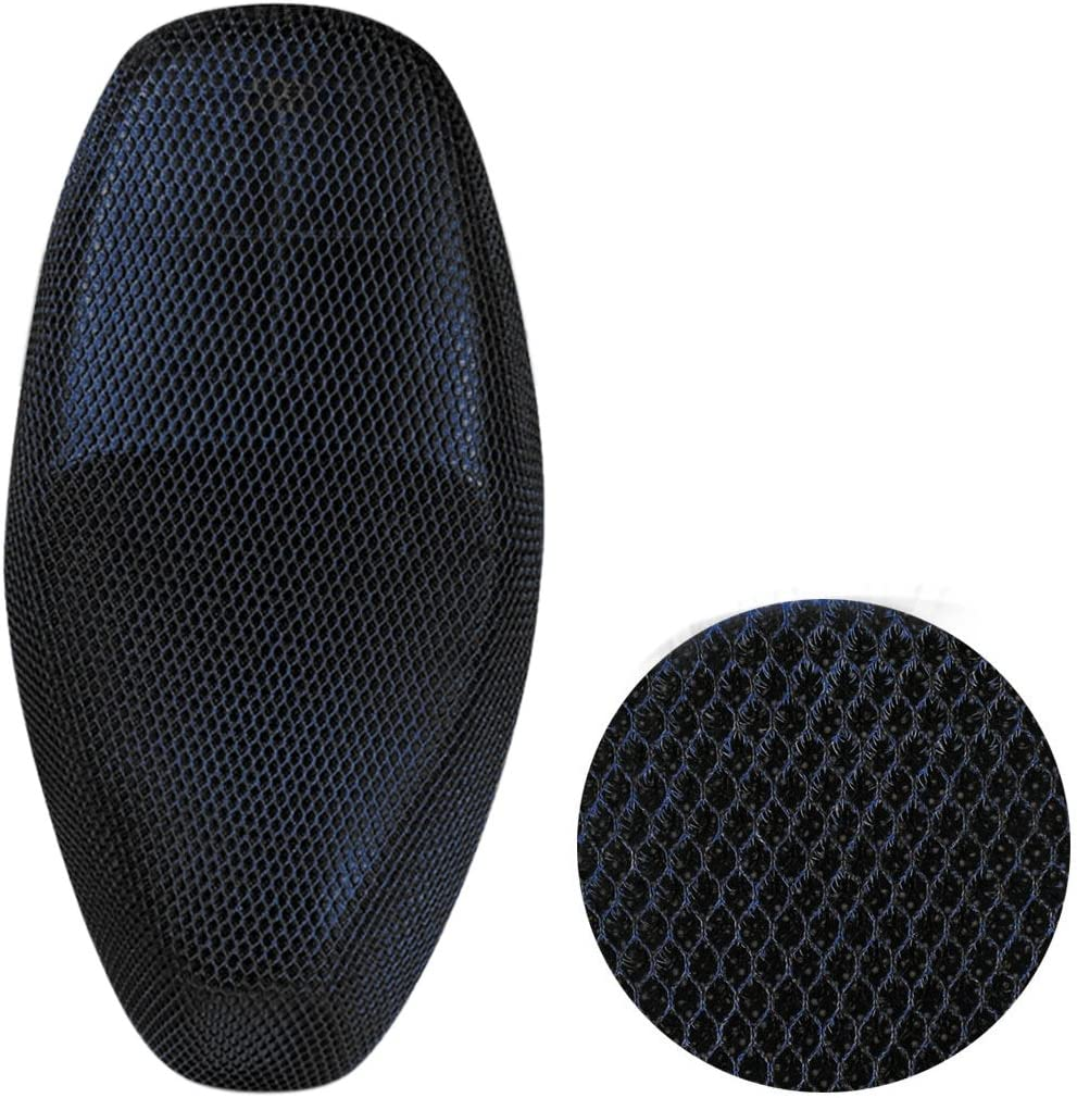 uxcell Blue Black Mesh Net Seat Cover Motorcycle Summer Breathable Protector Cushion