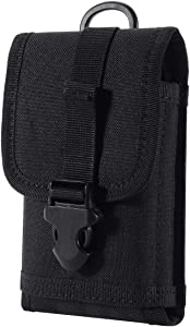 Zeato EDC Tactical Military MOLLE Phone Pouch Waist Clip-On Holster Bag with Belt Clip 1000D Nylon Touch Duty for iPhone X/XR/XS 7 Plus 6S 6 Plus Galaxy Note 5 S10 S8 S7 Edge LG Sony and More (Black)