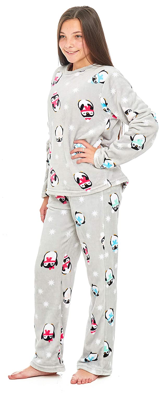 5f43879d6 Girls Shaggy Snuggle Fleece Pyjamas Lounge Winter PJ s Size UK 7 8 9 ...