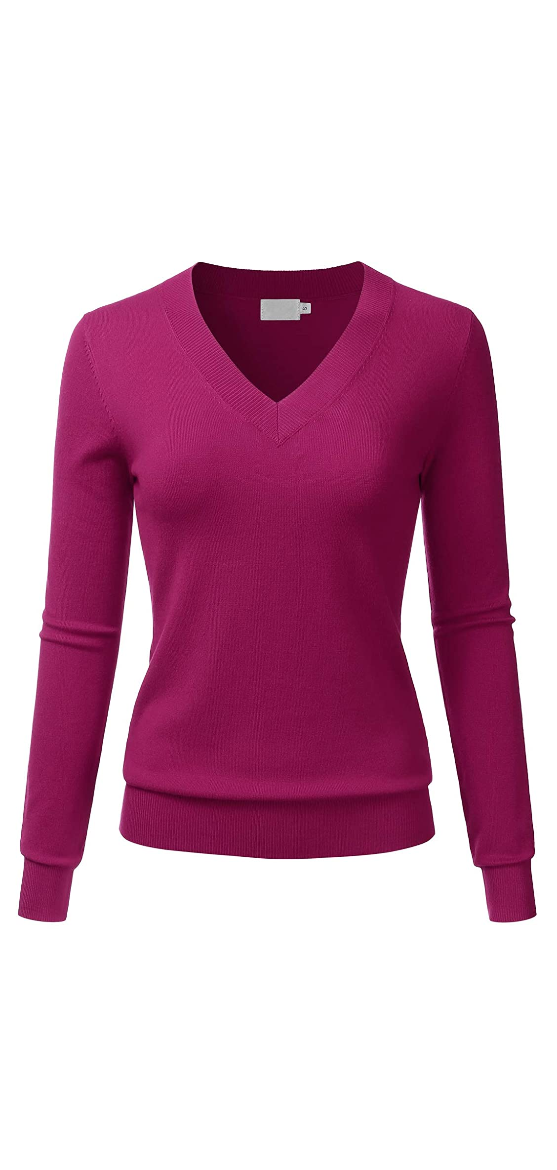 Women's V-neck Long Sleeve Soft Stretch Pullover Knit