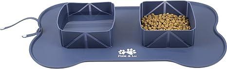 Tapete Comer de Alimentacion Silicona Impermeable Antideslizante Comedero y Bebedero Port/átil para Perros y Gatos con Bolsa de Viaje Pixie /& Lu Alfombrilla para Alimentos para Mascotas