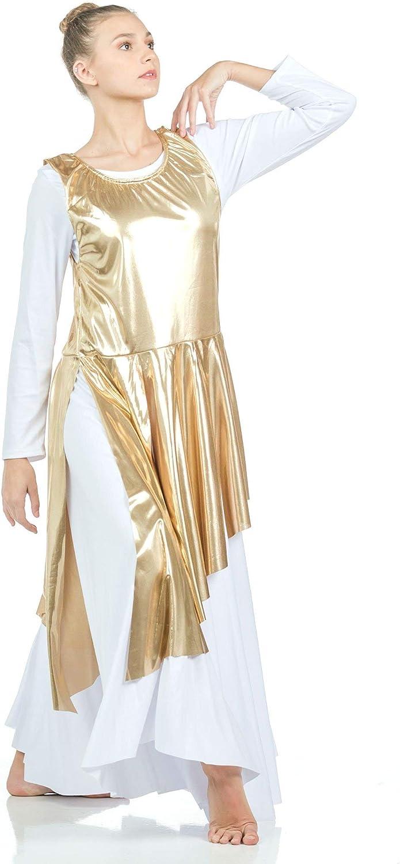 Gold Danzcue Asymmetrical Metallic Praise Dance Tunic L-XL-Child