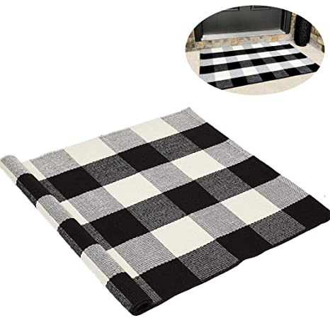 Buffalo Check Plaid Outdoor Flatweave Area Rug 23 6x35 4 Black And White Cotton Porch Entryway Front Door Welcome Mats