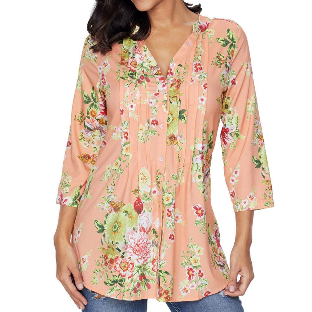 Jushye Women Floral Print Blouse Ladies Vintage V-Neck Tunic Tops Fashion Plus Size Long Sleeve Shirt
