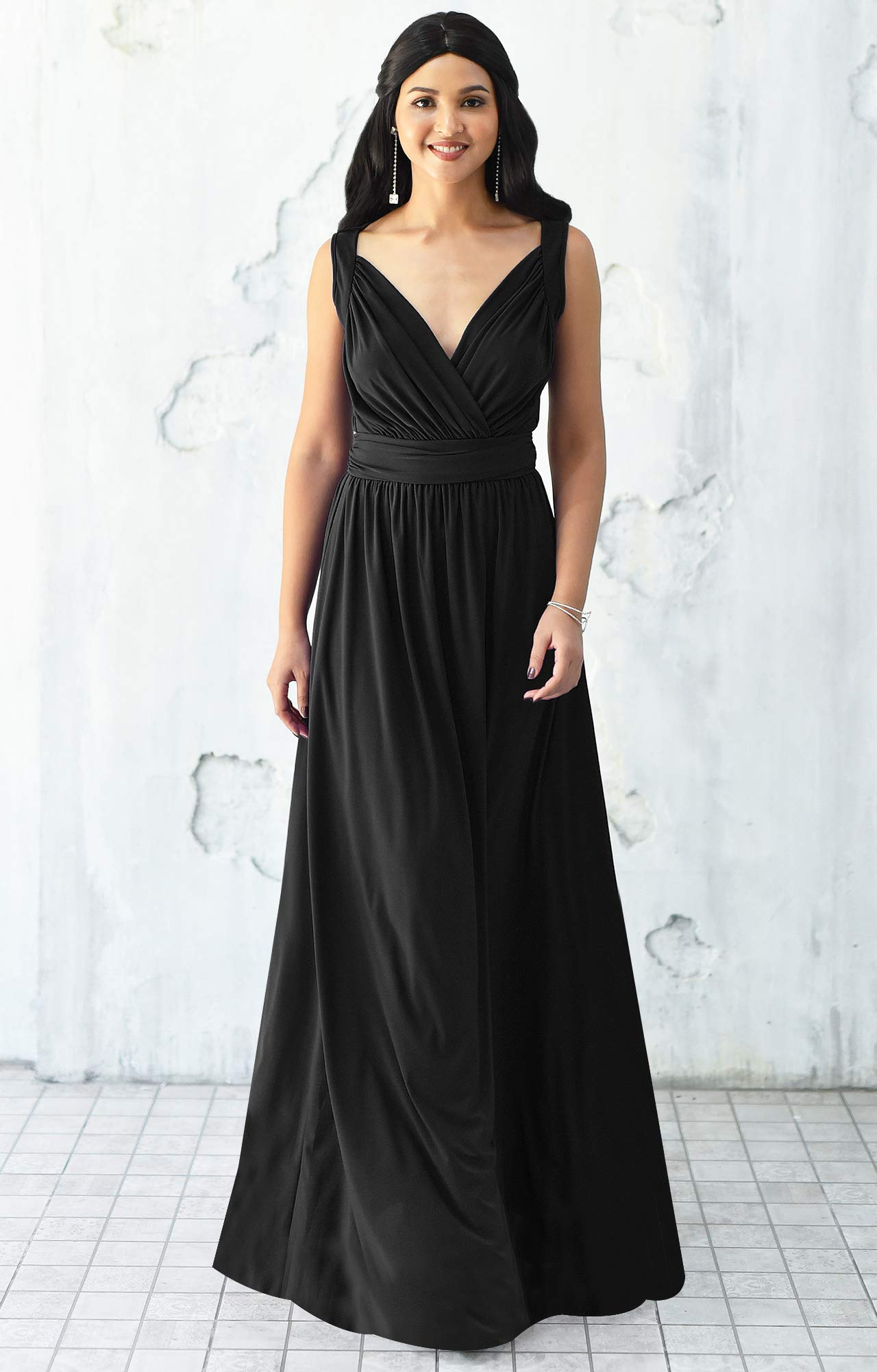 KOH KOH Womens Long Sleeveless Flowy Bridesmaids Cocktail Party Evening Formal Sexy Summer Wedding Guest Ball Prom Gown Gowns Maxi Dress Dresses, Black L 12-14 by KOH KOH (Image #3)