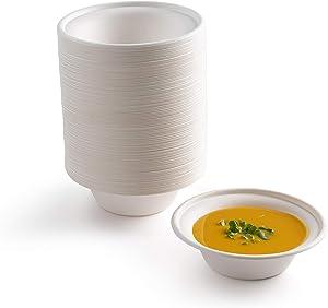 brheez [16 oz] Heavy Duty Round Disposable Bowls Eco-Friendly 100% Natural Sugarcane Bagasse Fiber Biodegradable & Compostable Bowl [Pack of 110]
