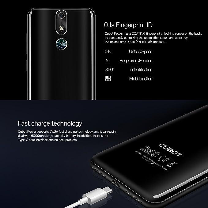 Cubot Power (2018) Android 8.1 de 4 G LTE Dual SIM Smartphone sin Contrato, 5.99 pulgadas (18: 9) IPS FHD + Pantalla ...