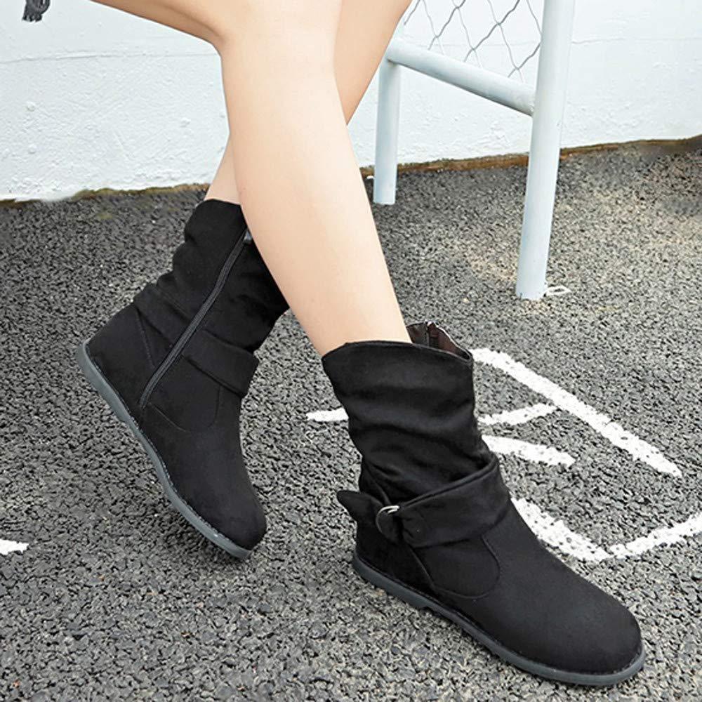 Qiusa Vintage-Stil Frauen große Größe Größe Größe Flache Stiefelies weiche Schuhe Set Füße Stiefel mittel Stiefel (Farbe   Schwarz Größe   UK-3) a0fa5a