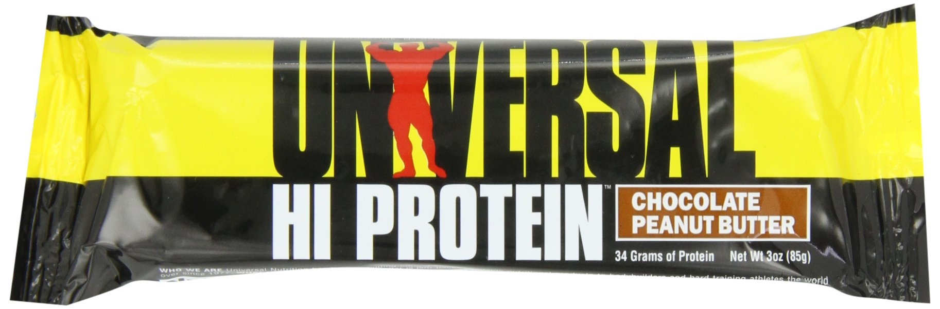 Hi Protein Bar - 34 g of Protein - 1 g of Sugar - 6.5g of Fat - Delicious Taste - Peanut Butter 85g bar Box of 16 by Universal Nutrition
