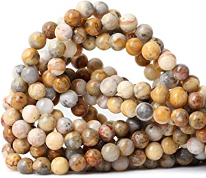 CHEAVIAN 45PCS 8mm Natural Yellow Crazy Lace Agate Gemstone Round Loose Beads for Jewelry Making 1 Strand 15