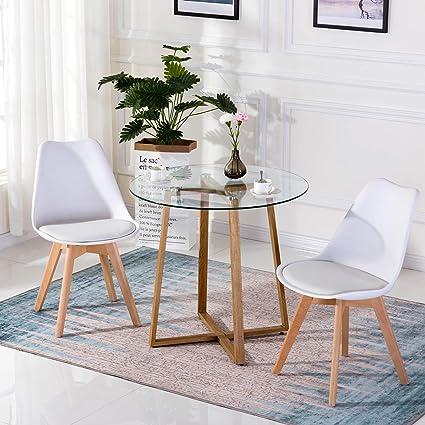 BM Furniture, Tavolo da Pranzo Rotondo in Vetro, Moderno ...