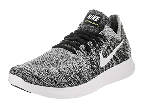 Zapatillas Nike Free Rn Flyknit 2017 Negro / Blanco Volt Running 10 Mujeres  EE. UU