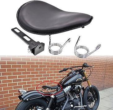 Senkauto Leather Bobber Solo Seat Spring Mounting Bracket Kit for Harley Sportster XL 1200 883 48 Chopper Bobber Seats Yamaha Kawasaki Custom