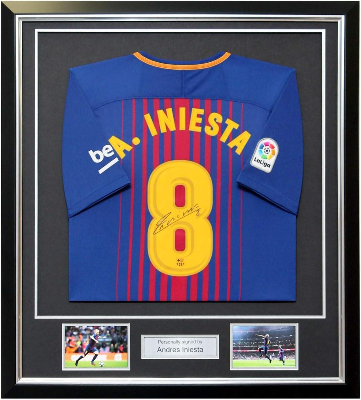 exclusivememorabilia.com Camisa del barcelonista firmada por Andres Iniesta. En Marco de Lujo: Amazon.es: Deportes y aire libre