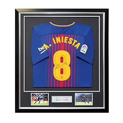 0737e11fe Andres Iniesta Signed 2017-18 Barcelona Home Jersey In Deluxe Black Frame  With Silver Inlay