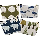 SOOKOO Animal Canvas Change Coin Purse Wallet Bag Gift with Zip and Liner, Pack of 4