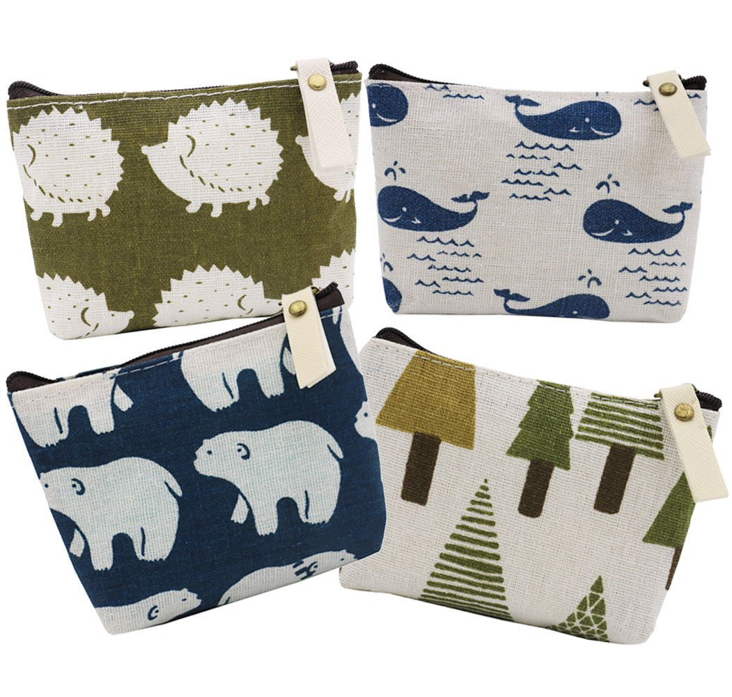 Sookoo Animal Canvas Change Coin Purse Wallet Bag Gift With