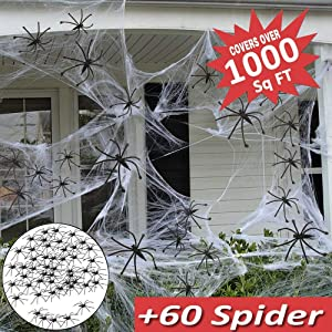 Camlinbo 1000sqft Spider Web with 60 Fake Spiders Included, Halloween Decoration Indoor Outdoor, Halloween Spider Cobweb Decoration Outdoor Decor Halloween Outside Decoration