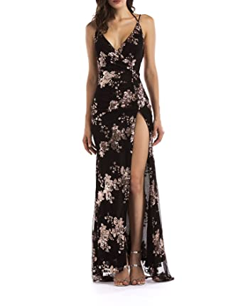 Amazon.com: Sexy Luxury Gold Sequins Maxi Dress Summer Elegant Black V Neck Split Club Sleeveless Long Party DRE: Clothing