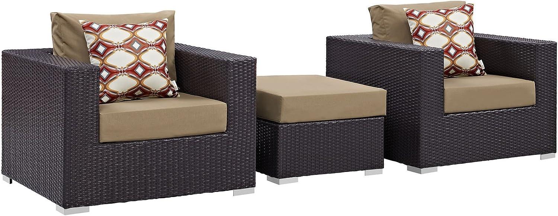 Modway Convene Wicker Rattan 3-Piece Outdoor Patio Furniture Set in Espresso Mocha