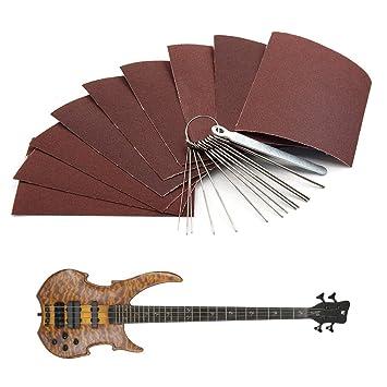 ALLCACA - Juego de limas de acero inoxidable para guitarra con tuerca y lima de cebo, para guitarra acústica, guitarra eléctrica, bajo, ukelele: Amazon.es: ...