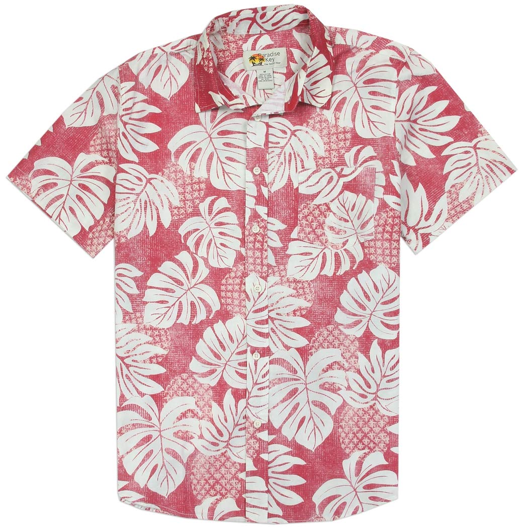 5c1575f0ab Mens Hawaiian Shirt Short Sleeve for Beach with Tropical Pineapple Leaf  Pattern at Amazon Men s Clothing store