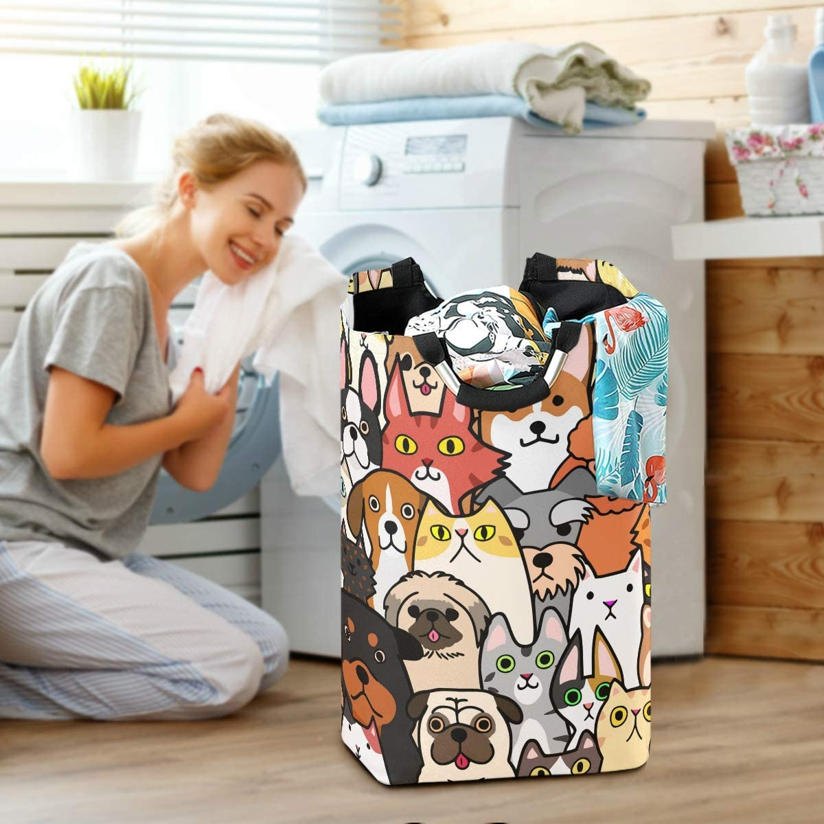 Doodle Dogs and Cats Faces Collapsible Laundry Hamper Large Capacity Large Basket for Bathroom Clothing Organization RunningBear Laundry Basket Washing Clothes Hamper