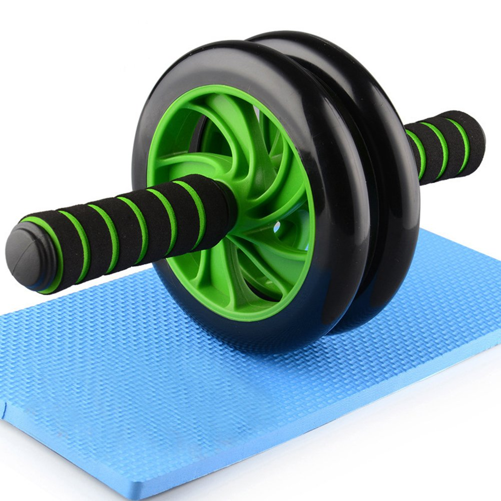 forestfish Ab Roller Wheel Core Training Exercise Roller Abdominal Fitness Workouts Pushups Training with Knee Pad for Man Woman Home Gym Equipment (Green)